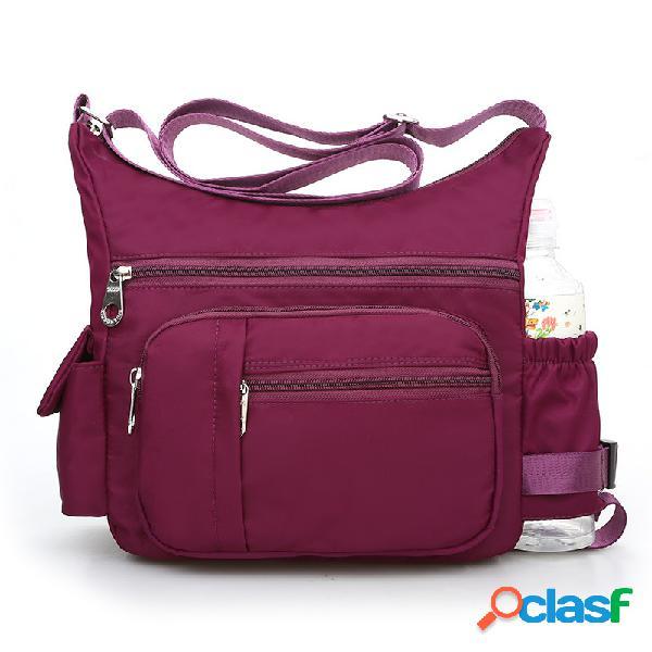 Bolsa transversal leve casual nylon impermeável multi bolsos feminina