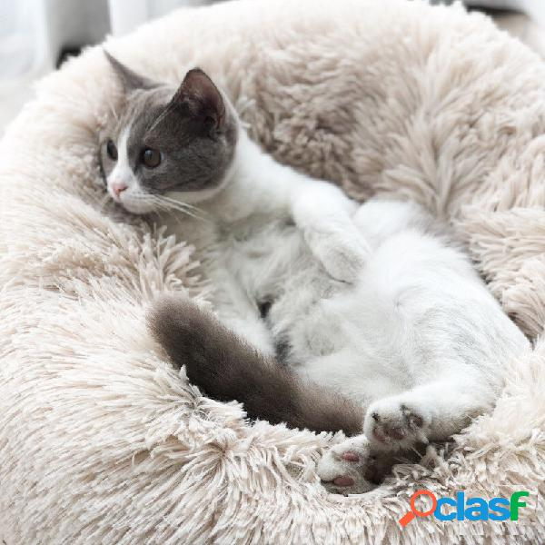 Cama de inverno quente para animais de estimação cachorro cama de gato longa de pelúcia super soft canil de cama redonda para animais de estimação cachorro almofada confortável para dormir pa
