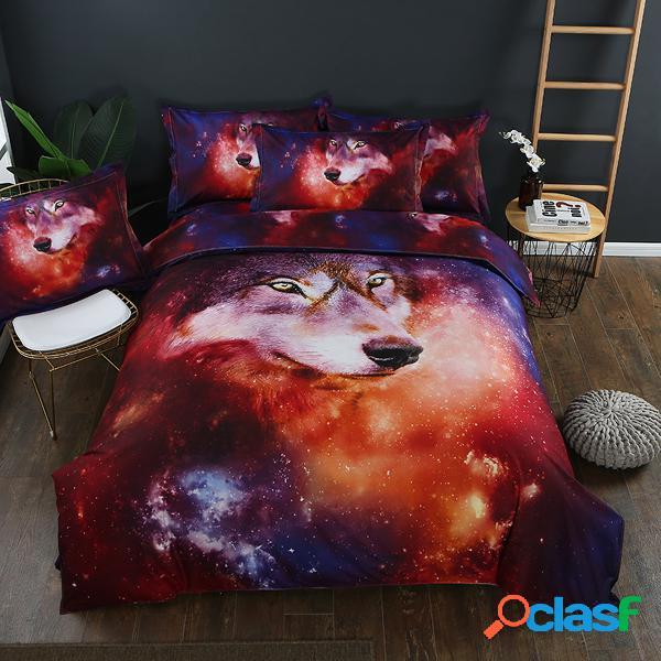 Animal 3d cama de lobo conjunto completo rainha do rei colcha capa de edredão fronhas
