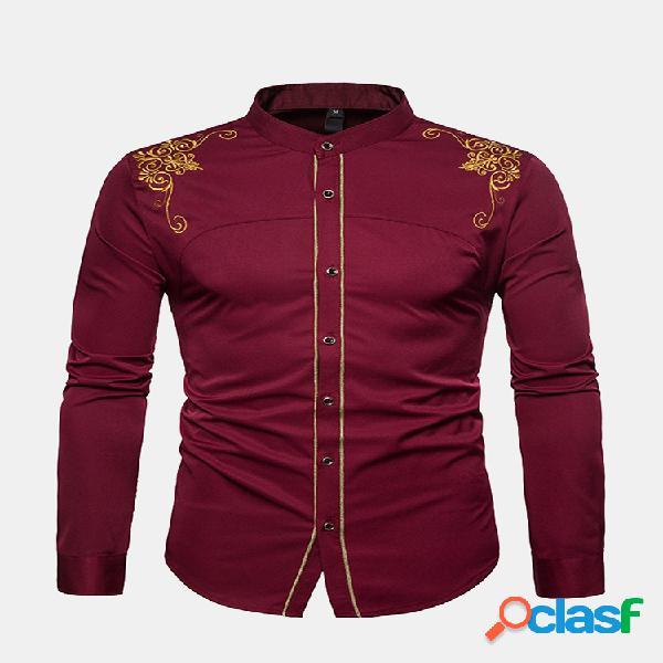 Bordado masculino estilo gola stand slim fit vintage business camisa