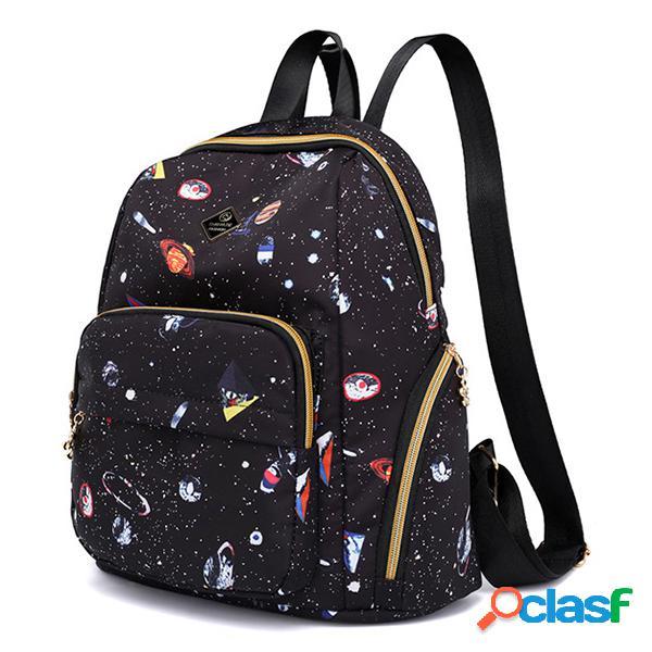 Mulheres nylon estrelado sky padrão mochila ao ar livre ombro bolsa viagem bolsa