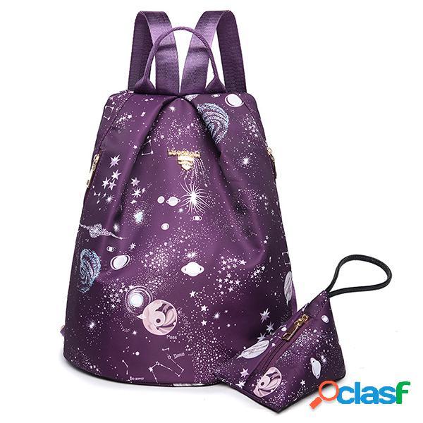 Mulheres nylon galaxy padrão ombro mochila bolsa viagem ao ar livre bolsa