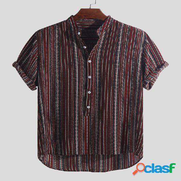Camiseta masculina estampada listra estampada com gola curta manga curta henley