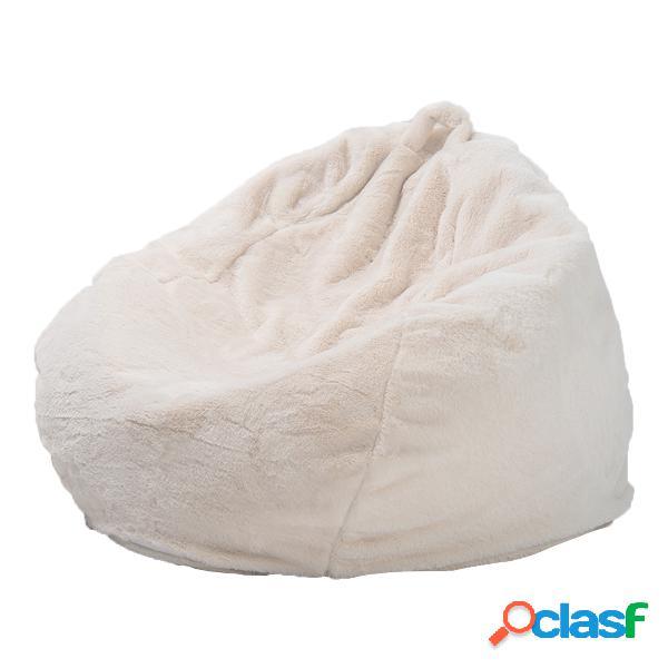 Branco cinza de pelúcia grande feijão bolsa capas de cadeira em casa sala de estar quarto feijão portátil bolsa capas