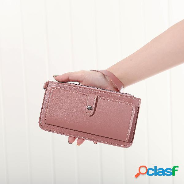 Mulheres faux leather solid multi-função longa carteira 12 card slots phone clutch bags