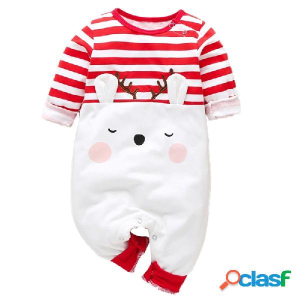 Bebê bonito alces natal listrado mangas compridas macacão casual para 0-18m
