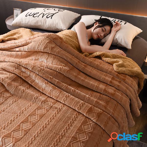 Cobertor de inverno de flanela grossa de flanela de 200x230cm lado ab soft cama queen size