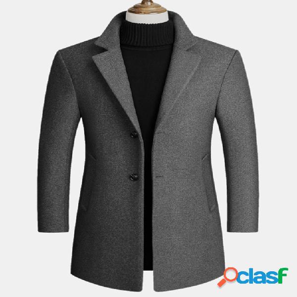 Lã masculina mescla casacos médios e longos casacos casuais de lã comercial