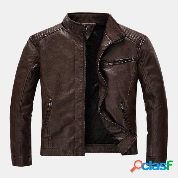Mens fashion pu leather multi pockets manga comprida stand collar slim fit jackets