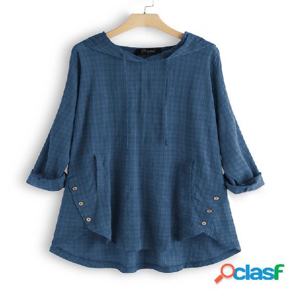 Blusa xadrez vintage com capuz irregular plus tamanho e poket