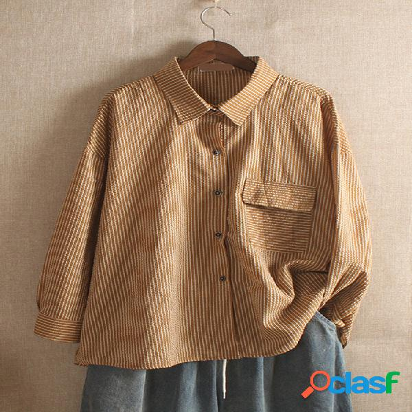 Blusa xadrez de manga comprida de bolso de botão vintage
