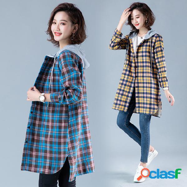 Novo original solto tamanho grande com capuz longo plus xadrez grosso camisa fêmea