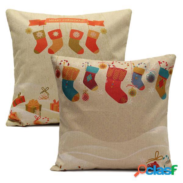 Meias de natal throw pillow cases home sofa square cushion cover