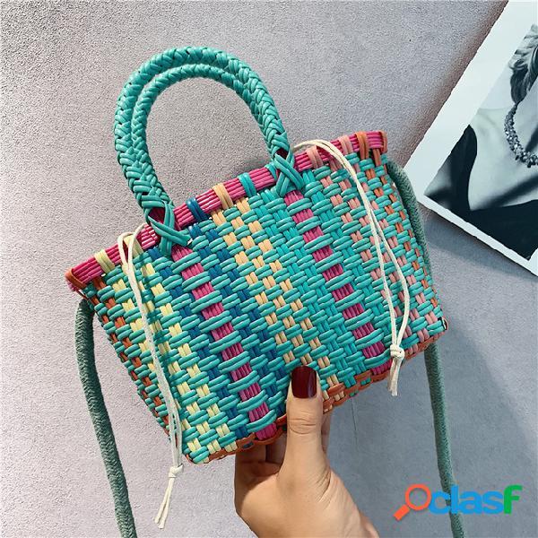Bolsas de tecelagem new fashion simple handbags sen temporada slung small bag bolsa de ombro selvagem