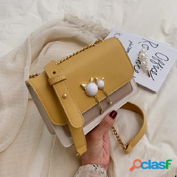 Dia novo bolsa pequeno fresco feminino bolsa dentro do remendo bolsa selvagem ombro bolsa no contraste cor diagonal pequeno quadrado bolsa