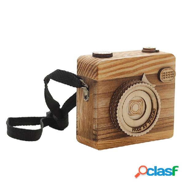 Caixa de música da câmera hangable caixa de música de madeira artesanal criativa clockwork presente perfeito