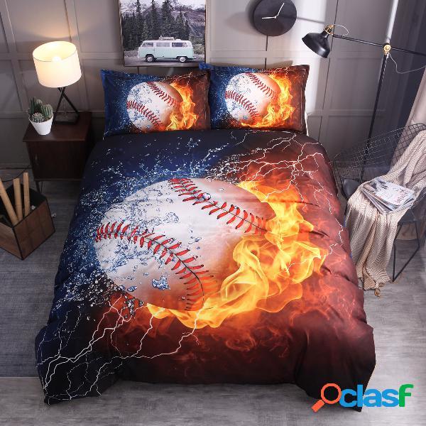 3 pcs 3d baseball doona colcha de cama conjunto de fronhas de beisebol azul chama capa de edredão