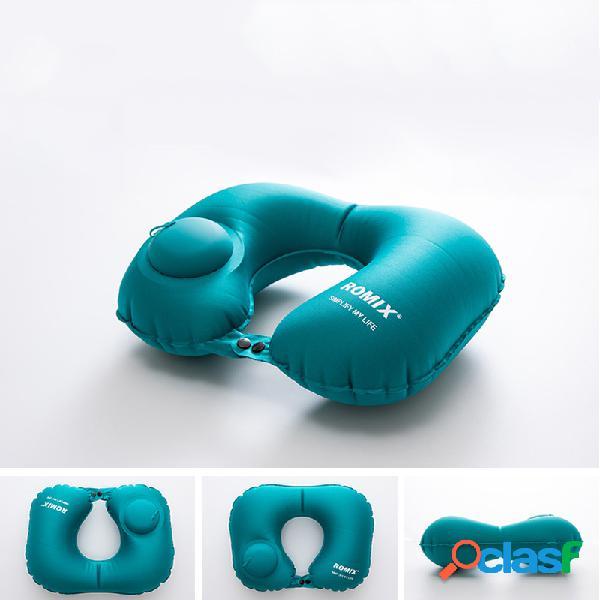 Insuflável em forma de u descanso imprensa automática inflável viagem adulto travesseiro cervical cuidados pessoais