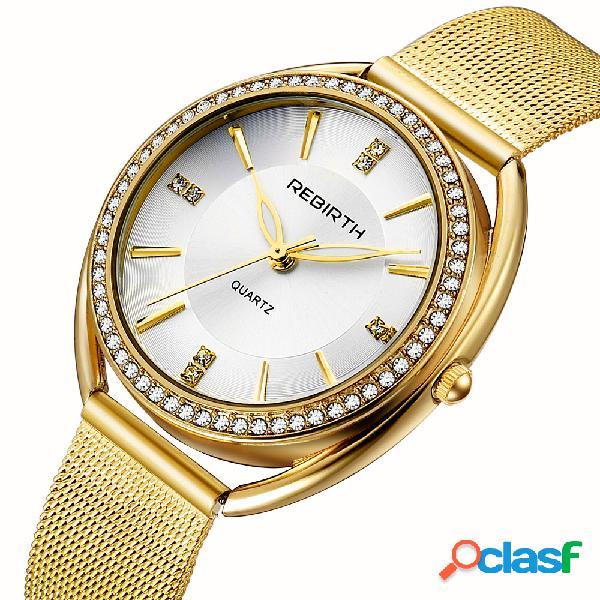 Relógio de pulso de aço inoxidável completo do relógio do relógio de pulso das mulheres do caso do seletor do diamante