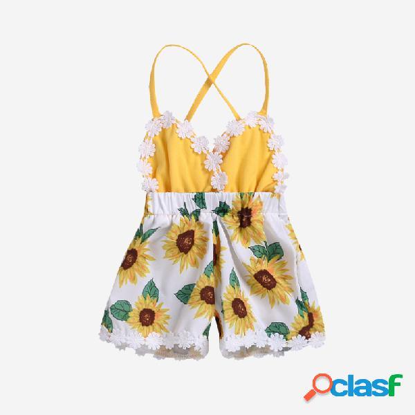 Bebê girassol impressão rendas emendado macacão deslizamento macacão para 0-24m