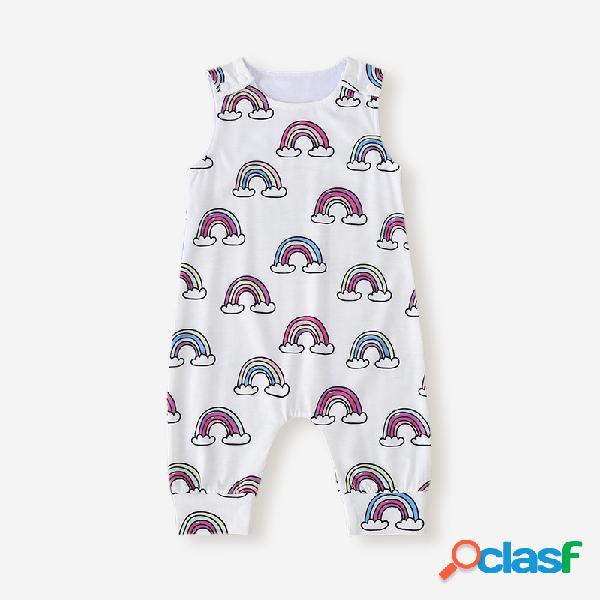 Macacão casual sem mangas para bebê com estampa arco-íris para 6-24m