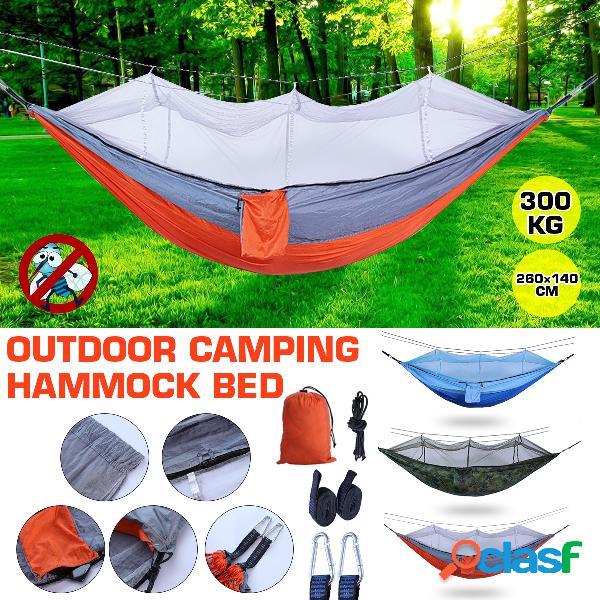 Única cama de rede de acampamento com mosquiteiro bug net portátil ao ar livre mosquiteiro tenda de rede parachute camping cama de dormir