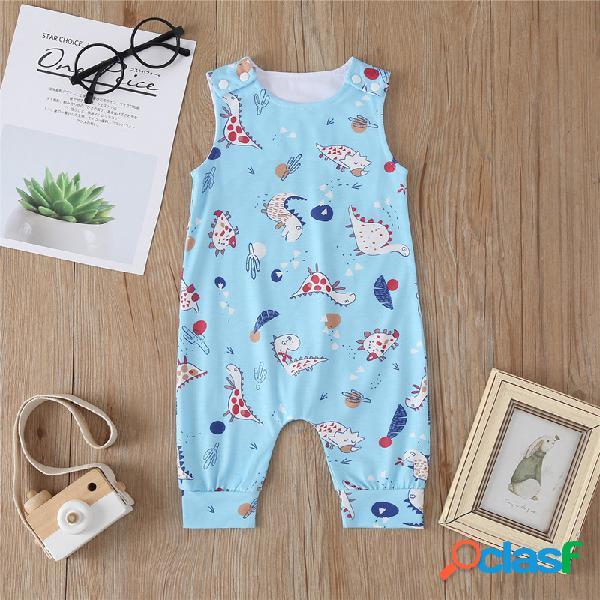 Bebê dos desenhos animados de impressão sem mangas o-pescoço casual macacão azul para 6-24m