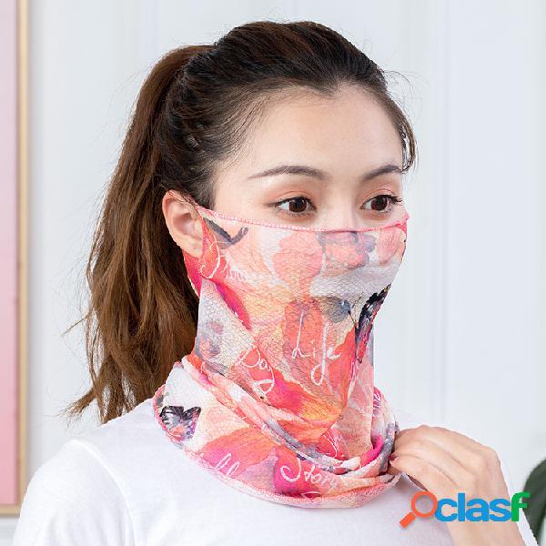 Seda de gelo de secagem rápida impressa lenço protetor solar protetor solar multifuncional lenço no pescoço máscara