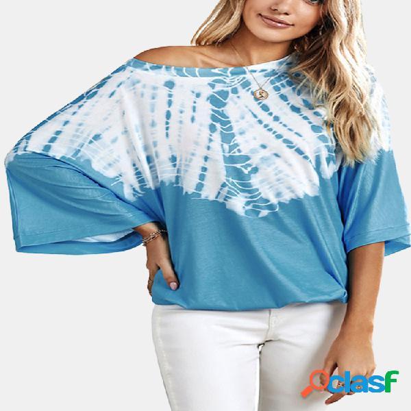 Camiseta com estampa geométrica bells manga com decote em o plus tamanho