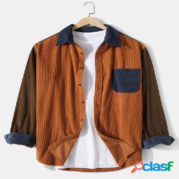 Camisas masculinas de veludo cotelê colorido patchwork casual com bolso no peito camisas de manga comprida