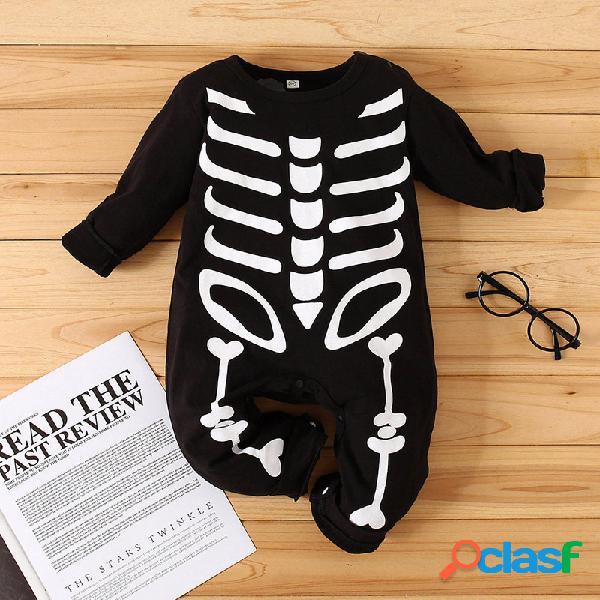 Macacão de mangas compridas com estampa de osso de bebê para 6-24m