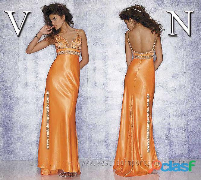 Vestido de formatura em cetim importado na cor laranja