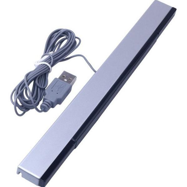 Barra sensor bar wii ou wii u usb pc + suporte black preto