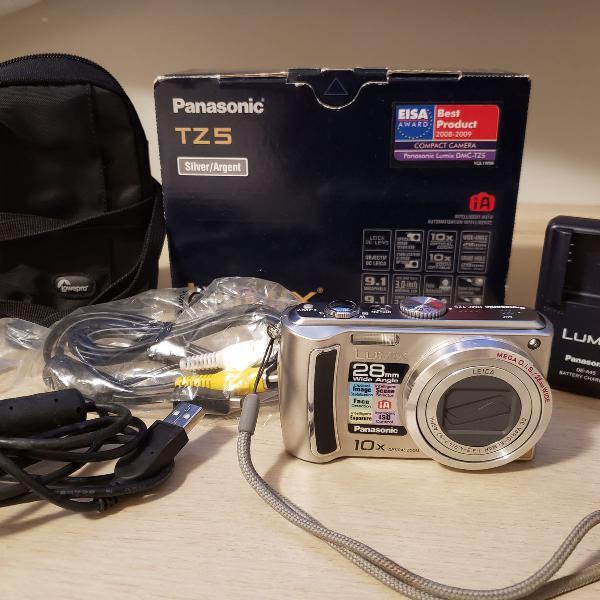 Câmera fotográfica digital panasonic lumix dmc-tz5 prata