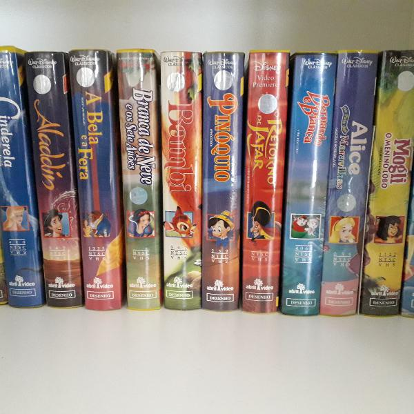 Coleção de 12 filmes clássicos disney (vhs)