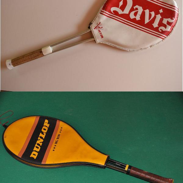 Dupla de raquetes antigas dunlop e davis