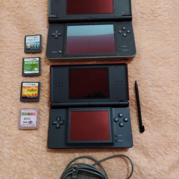 Nintendo ds lite e nintendo dsi xl com r4 e jogos