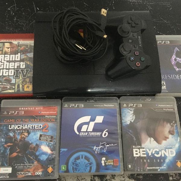 Playstation 3 console + 6 jogos