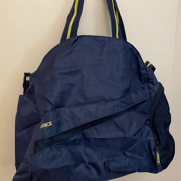 Bolsa de academia ace azul marinho com verde limão