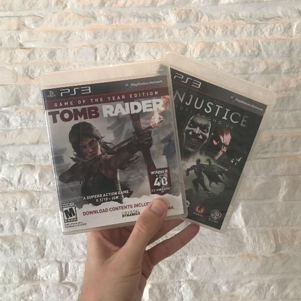 Kit jogos ps3 tomb raider e injustice
