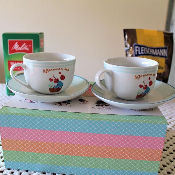 Conjunto porcelana para chá da tarde