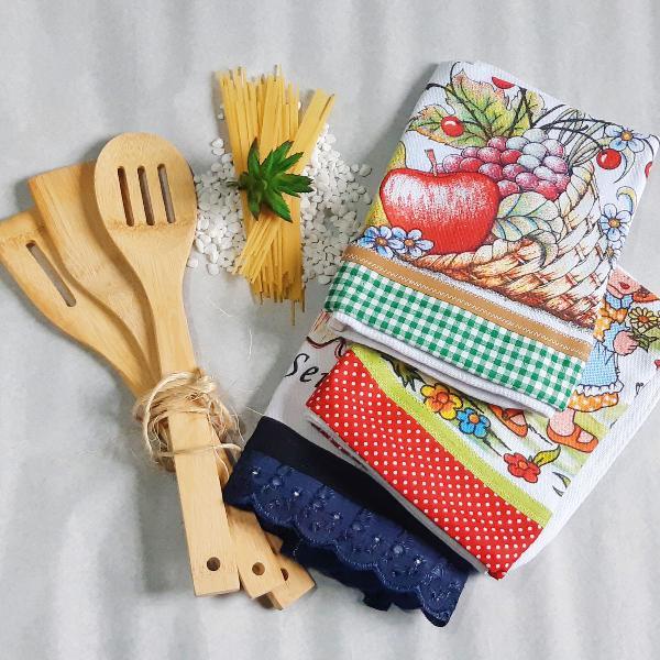 Kit panos de prato - com 03 peças