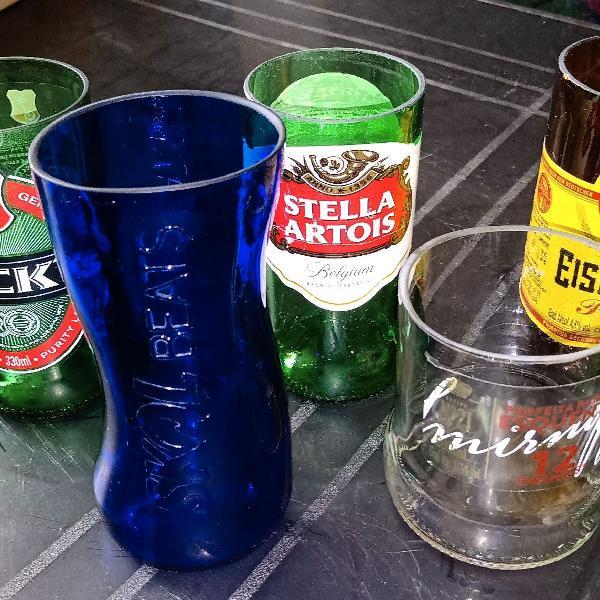 Peças artesanais em vidro - copos