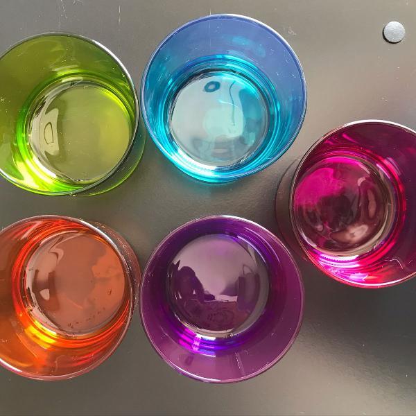 Jogo sobremesa vidro colorido 5 potinhos