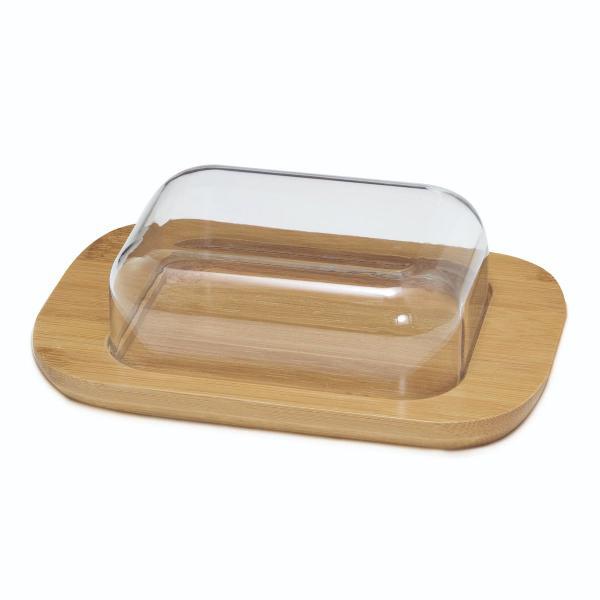 Porta manteiga em bambu com acrilico transparente