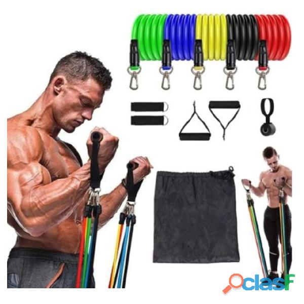 Kit elástico extensor 11 peças   exercício fitness pilates