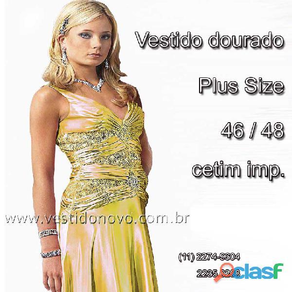 Vestido dourado Plus Size, mãe de noiva