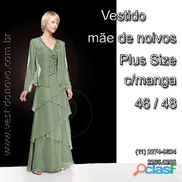 Vestido verde, em camadas Plus Size, mãe de noiva