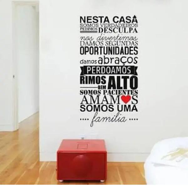 Adesivo de parede frase nesta casa familia sala decorativo