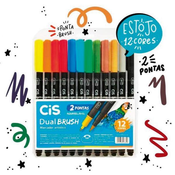 Estojo brush pen 12 cores duas pontas aquarelável cis